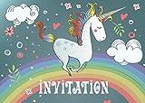 Edition Colibri 10 Invitations en Français Licorne sur l'arc-en-Ciel: Lot de 10 Cartes d'invitation tendres et illustrées avec Chevaux pour Un Anniversaire de Fille des (10754 FR)