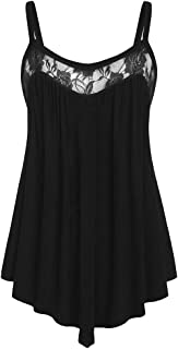 Women Sexy Camisole, OULSEN Fashion Simple Sleeveless Blouse Summer Casual Wild V Neck Lace Splice Irregular Loose Sling Shirt Tank Top Vest White Black