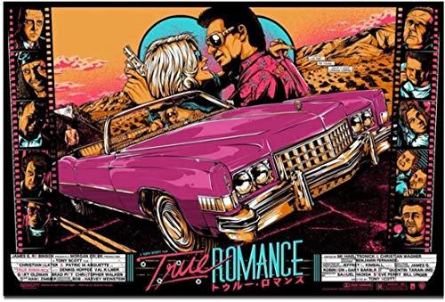 True Romance Car Racing Movie 1993 Classic Film Hd Art Poster Imprimir en lienzo Imágenes Imágenes de la sala de estar Decoración del hogar Regalo único -20x40 in Sin marco