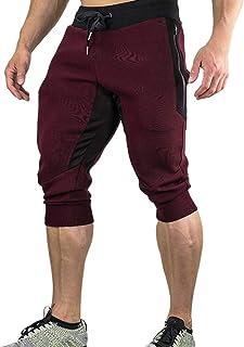 Men Solid Shorts Sports, Male Casual Summer Joggers Solid Pocket Drawstring Zipper 3/4 Pants Trouser