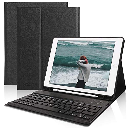 Tastatur Hülle für iPad 9.7 2018 (6. Generation)- iPad 2017 (5. Gen)- iPad Pro 9.7- iPad Air 2 und 1- Wireless Bluetooth Tastatur [QWERTZ Deutsches]- Stifthalter- Schlaf/ Wach, iPad Tastatur Hülle