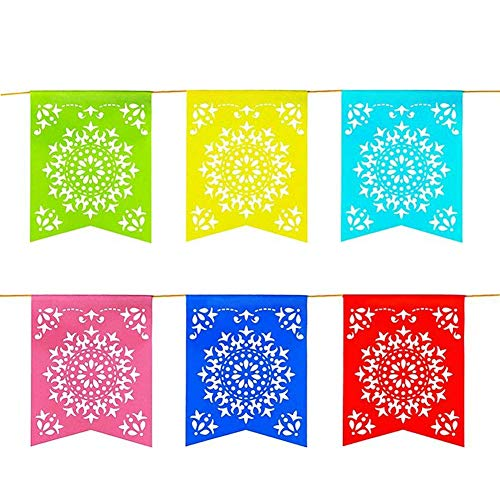 12 Foot Long Rainbow Multicolored Flag Mexican Sun Del Sol Design Garland Drop Banner for Party Decorations, Birthdays, Event Supplies, Fiesta Festivals, Children & Adults