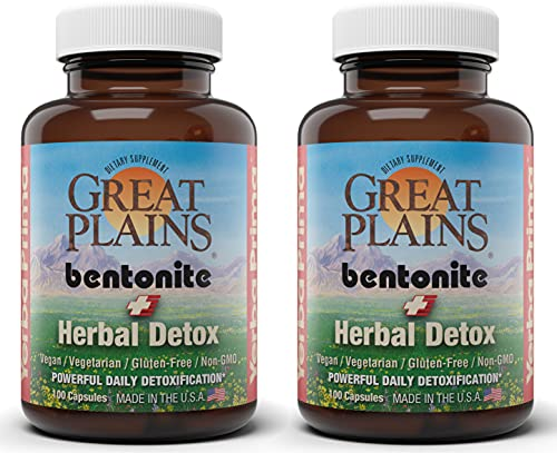 Yerba Prima Great Plains Bentonite Clay Caps Herbal Detox (Pack of 2) - Food Grade - Liver & Colon Cleanse Supplement