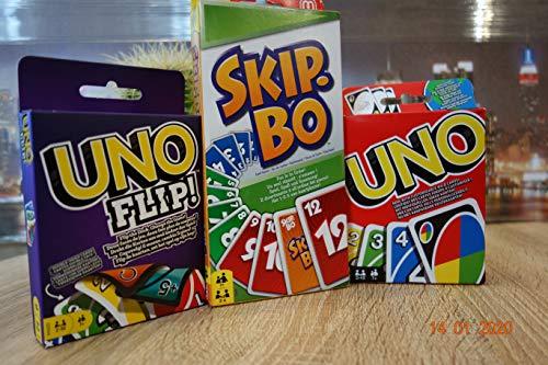 Unbekannt Legendäre Kartenspiele und Familienspiel in einem Set UNO+UNO FLIP+Skip-BO