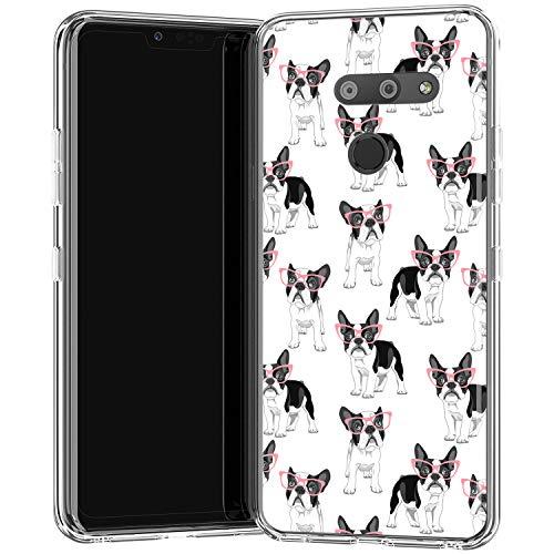 Lexary Case Compatible for LG G8 ThinQ G7 G6 Velvet 5G V50 V40 V35 V30 V20 Bulldog Pattern Smooth Soft Lightweight Slim fit Print Design Silicone Clear Boston Terrier French Puppy Cute Glasses f436