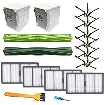 Replacement Parts Kit Compatible with Roomba s Series Vacuum Cleaner s9  9150  s9+ s9 Plus  9550 -Replenishment Kit  4 filters 6 Corner Brushes 1 Set of Multi-Surface Rubber Brushes,2 dust bag