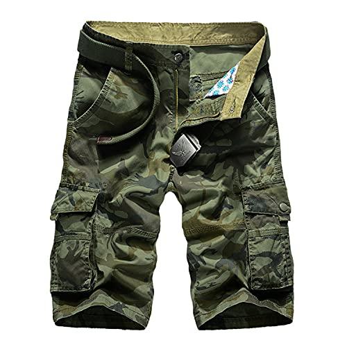 Herren Camo Cargo-Shorts Lässige Loose Fit Sommer-Strand-Kurzhose mit mehreren Taschen Heer Ventilator Gerade Shorts im Military-Stil (44,Grün)