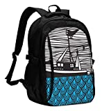 asfg Resistente a Las Manchas Boat Illustrtion Art Multifunctional Personalized Customized USB Backpack, Student School Outdoor Backpack,Travel Bag Laptop Bookbags Business Daypack.