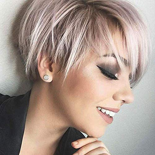 Queentas Pixie Short Blonde Wig with Bangs Dark Roots Synthetic Hair Wigs for White Women (Brown Mixed Blonde)