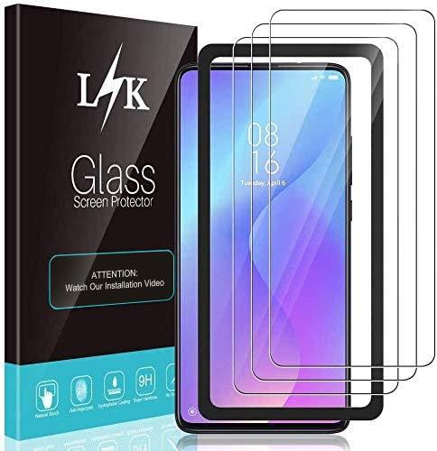 LϟK 3 Pack Protector de Pantalla para Xiaomi Mi 9T y Xiaomi Mi 9T Pro - Cristal Vidrio Templado - Dureza 9H Funda Compatible Marco de Posicionamiento Sin Burbujas Kit Fácil de Instalar