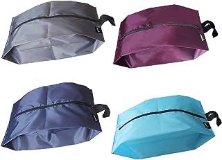 MISSLO Portable Nylon Travel Shoe Bags with Zipper Closure (Pack 4, Mix Color)