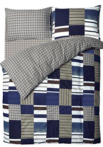 Velosso Blue Denim Patchwork Bedding Duvet Cover Set with Pillowcase (s) Reversible Check (Single)