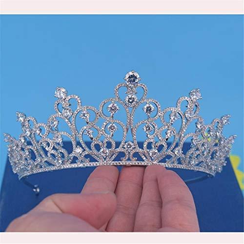 SUIWO Princess Crown Gems Rhinestone Tiara Kid Girl Prom Birthday Prinecess Party Princess Headband Hair Accessory Micro-inlaid Zircon Bride Crown Queen Princess Wedding Accessories (Color : Silver)