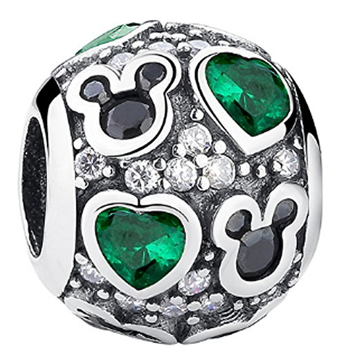 SaySure - 925 Sterling Silver Green Heart Charm With CZ