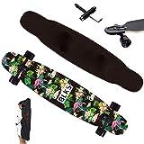 Longboard Cruiser 117×23cm Tabla Completa, con T-tool & Guard Tiras De Goma & mochila, rodamientos Bolas ABEC-11, 7 capas de arce Board, Drop-Through Freeride Skate Street Dance Boards, para Adultos,C