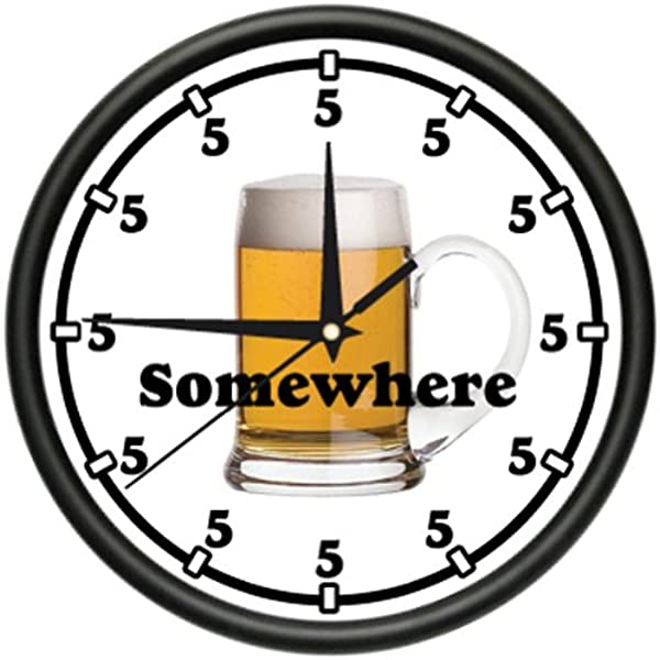 SignMission Five O CLOCK Somewhere 1 Wall Clock Beer Happy Hour Drink Gift Beagle 1five