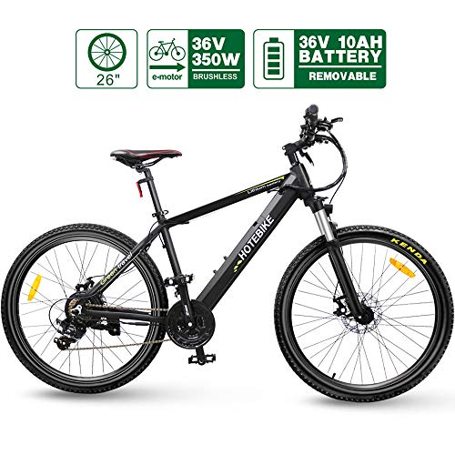 HOTEBIKE 36V 350w Ebike Electric Bike 26' E Bikes for Adults Aluminum Alloy Mountain Bicycle with 21 Speed Shift Removable Hidden Battery 160 disc Brake