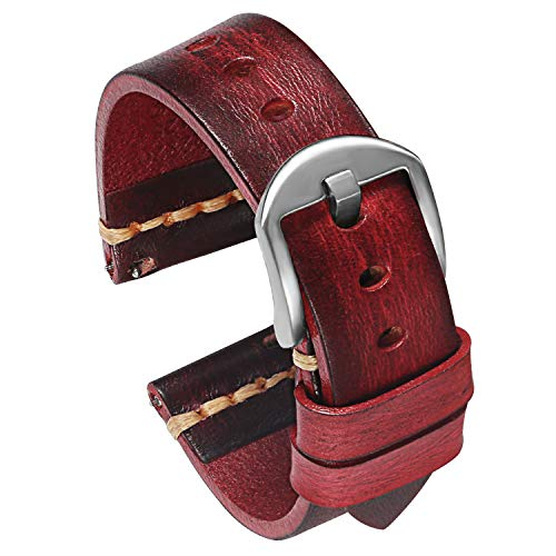 PBCODE Quick Release Leather Watch Bands for Men Handmade Vegetable Tanned Calfskin Vintage Leather Watch Straps 22mm Red