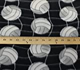 Polar Fleece Fabric Anti Pill Prints Volleyball NET Black / 60' Wide/Sold by The Yard S-648