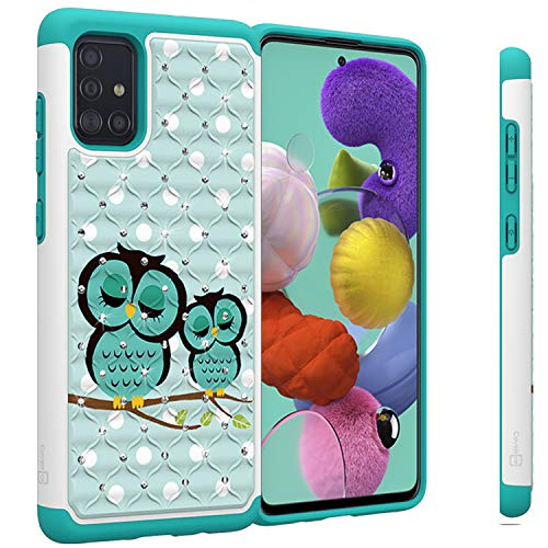 CoverON Aurora Series Designed for Samsung Galaxy A51 Case, Bling Hybrid Rhinestone Dual Layer Shockproof Phone Cover - Owl