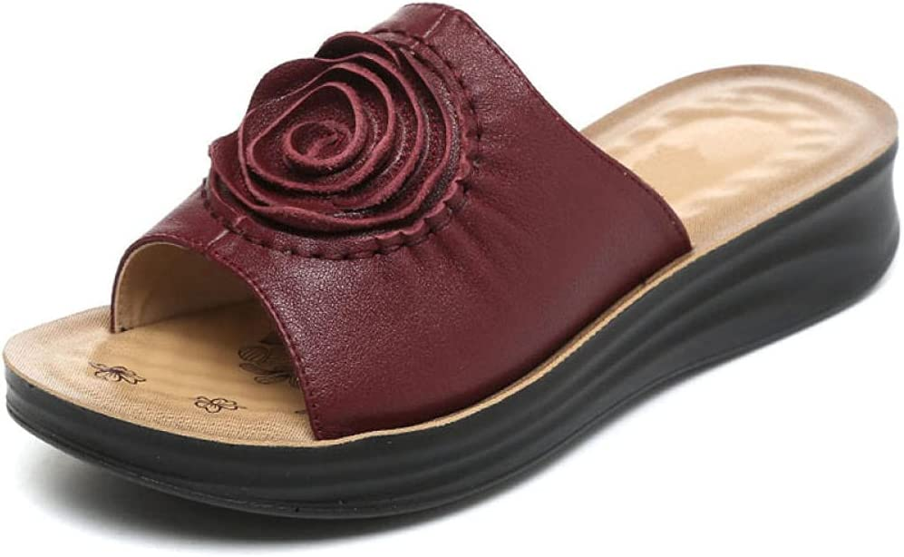 Kirin-1 flip Flops Mens,New Mother Cool Dragged Outside Summer Flat Leather slippers-39_Wine red