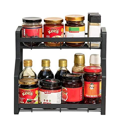 AWCPP Cocina Spice Rack Encimitop Especias Organizador Estante Estante Estantes de Alenamiento Estantes Independientes Spice Organización Titular Condimentos Sostiene,Capa Negra-2