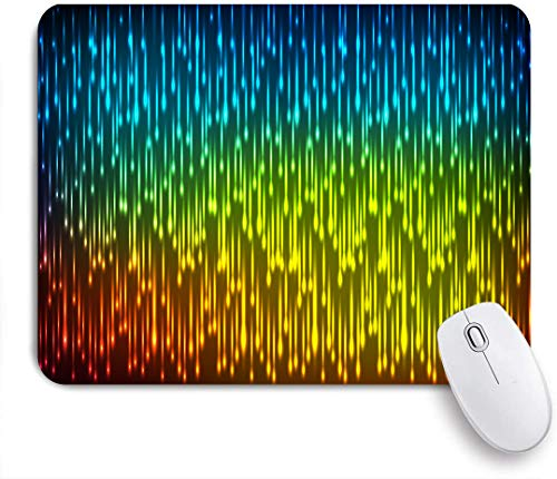 Decorative Gaming Mouse Pad,Galaxy Universe Outer Space Inspired Technical Neon Rain,Office Computer Mouse Mat with Non-Slip Rubber Base