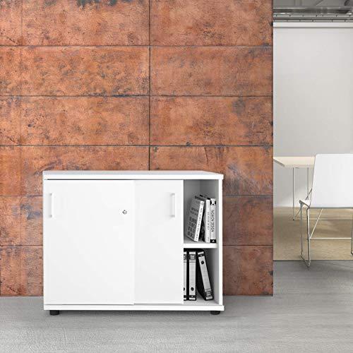 Uni schuifdeurkast 1 meter breed afsluitbaar 2OH wit kast kantoorkast