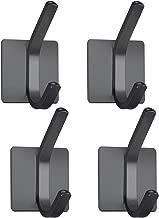 XIGOO Black Adhesive Door Hooks, Office Hanger Hanging Key Towel Coat Hooks Stick on Wall Perfect for Bathroom Kitchen,Stainless Steel 4 Packs