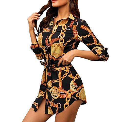 SANNYSIS Damen Langarm Hemdkleid V-Ausschnitt Elegant Kurz Blusenkleid Sexy Shirt Kleid Oberteil Kleid Bodycon Minikleid mit Gürtel Boho Drucken Sommerkleid Kleider (M, Schwarz)