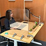Sneeze Guard by Versa Products | Personal Protection Shield | 1/4 Inch Thick Acrylic Plexiglass | Suction Cup Feet | Steel Base (48