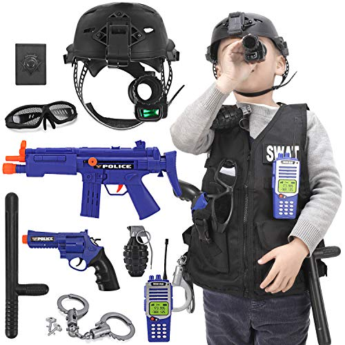 Kids S.W.A.T. Police Officer Costume Deluxe Dress Up Role Play Set with Helmet, Monocular, Guns, Accessories (12 Pcs) Black