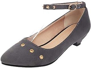 ELEEMEE Women Kitten Heel Ankle Strap Pumps