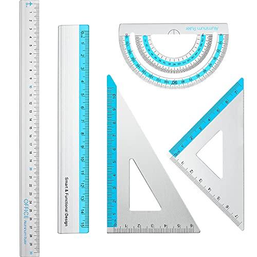 5 Stücke Aluminium Lineal Set Architektur Lineal Kit Gerades Lineal 15 cm 30 cm, Dreieckiges Lineal Metall Winkelmesser Maßstab Lineal Mathe Set für Schüler Architekt Ingenieur Büro Schule
