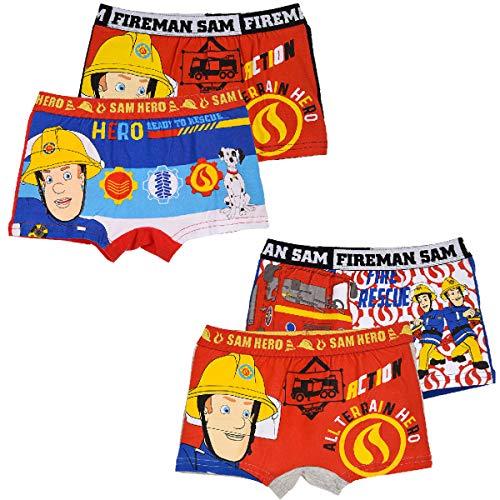 Feuerwehrmann-Sam Jungen Boxershort Unterhose 4er Pack (Farbmix 3, Gr. 6-8 Jahre)