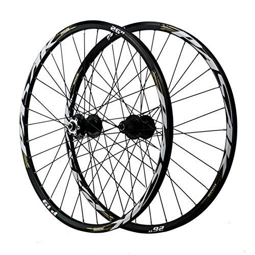 29 Pulgadas Ciclismo Wheels,Pared Doble 32 Hoyos Liberación Rápida Primeros 2 Últimos 5 Rodamientos Freno de Disco Juego de Ruedas De Montaña (Color : Black Gold, Size : 29in)