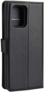 Litchi Leather Textured Drop Resistant Phone Case Cover For Samsung Galaxy A91 / Samsung Galaxy S10 Lite -Black
