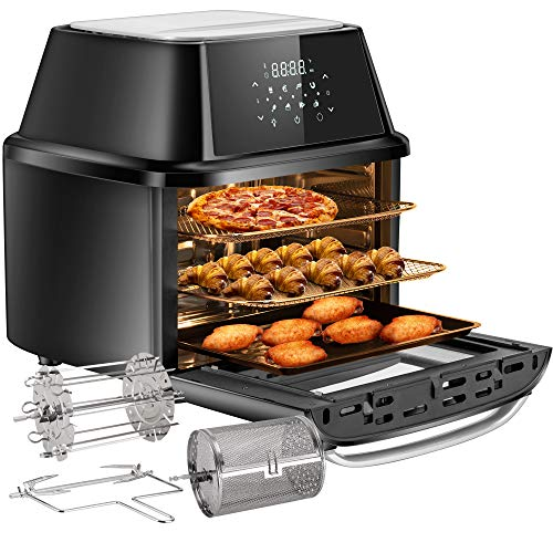 OMMO Air Fryer Oven, 17 Quarts 1800W Air Fryer Toaster Oven, 8 Presets & 40+ Recipes, Oilless...