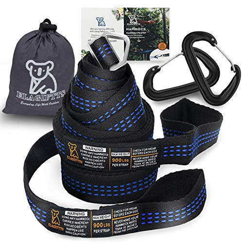 Hammock Straps Camping Tree Straps 1800+ lbs Heavy Duty Hammock Accessories Adjustable Straps Suspension System 9 ft w/ Carabiners Storage Bag
