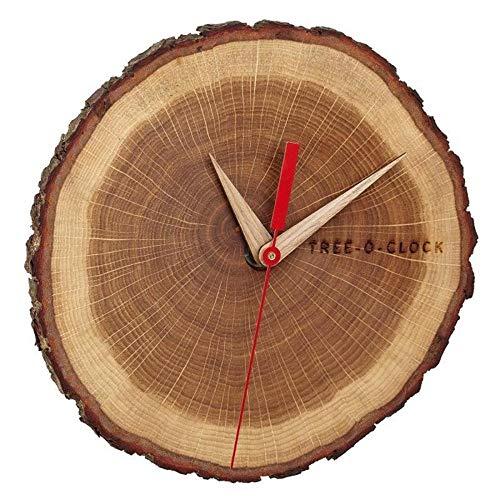 TFA Dostmann Tree-O-Clock Wanduhr aus Eichenholz, 60.3046.08, hochwertiges Uhrwerk, handgemacht in der EU, Unikat, geölt, Eiche, Braun, 18 x 4 x 17 cm