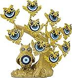 HOMLUXCARE Turco Blue Evil Eye Albero artificiale dorato con Figurine di gufi...