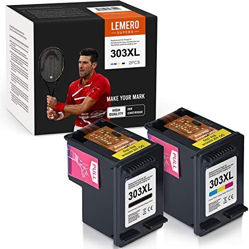 LEMERO SUPERX 303 XL compatibile con HP 303XL cartuccia d'inchiostro per HP Envy Photo 7130 6230 7830 7134 6220 6232 6234 71830 Tango (1 nero 1 colore)