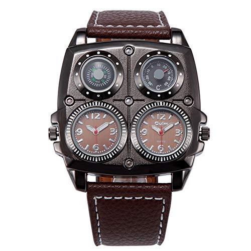 J.Memi\'W Herren Uhr Analog Quarzwerk Punk Gothic Uhr Mit Leder Armband Geschenk Zubehör Für Weihnachten Jubiläum,B