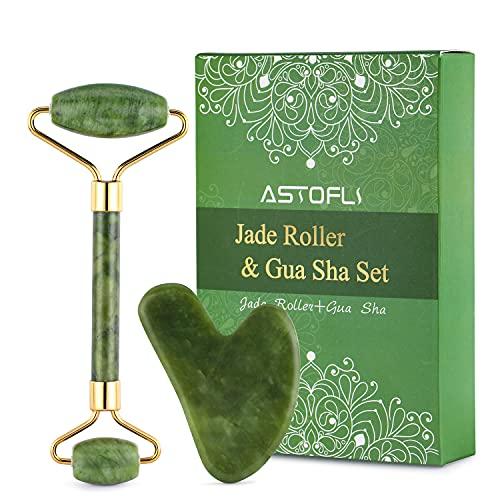 ASTOFLI Gua Sha Piedra & Rodillo facial, set de regalo, rodillo de jade verde natural, masajeador facial para hinchazón de los ojos, tonificación de la piel de la cara y el cuello