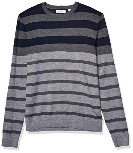 Calvin Klein Mens Merino Sweater Crew Neck, Blue gray stripes, Medium