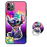 Phone Case for iPhone 12 Pro Max,Soft Silicone Protective Cover with Ring Holder Stand for iPhone 12 Pro Max 6.7 inch - Disney Lilo Stitch Galaxy Pink Watercolor