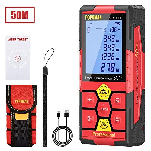 POPOMAN Telémetro láser 50m, USB Carga 30mins, 99 Datos, Medidor Láser, Sensor de Ángulo Electrónico, 2.25'' LCD Retroiluminación, m/in/ft/ft+in, Pitagórico, Distancia, Área y Volumen - MTM100B