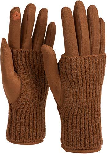 styleBREAKER Damen Touchscreen Stoff Handschuhe mit abnehmbaren Strick Stulpen, warme Fingerhandschuhe, Winter 09010022, Farbe:Cognac