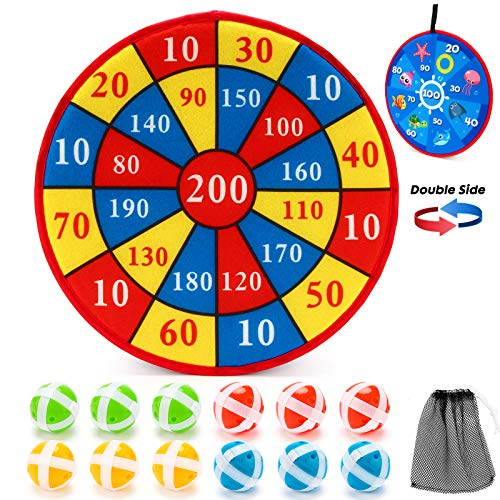 Dart Board Game for Kids with 12 Sticky Balls - 14 Inches Double Sided Safe Dart Game, Excellent Indoor and Party Games, Classic Toy, Party Favor, Great Gift for Boys Girls Ages 3-Year-Old and Up
