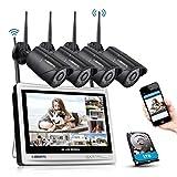 DEATTI WLAN 8CH 1080P Überwachungskamera Set mit 12 Zoll LCD Monitor, 2.0Megapixel Funk NVR Überwachungssystem mit 4X 1080P WLAN IP Kamera Vorinstalliert 1TB Festplatte Videoüberwachungssystem